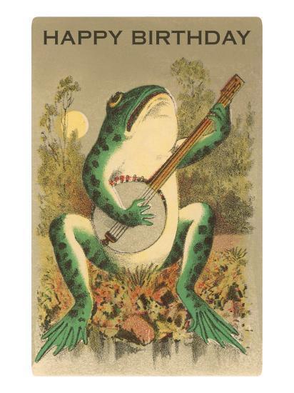 Happy Birthday, Frog with Banjo--Art Print