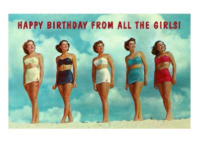 Happy Birthday from all the Girls, Bathing Beauties--Art Print