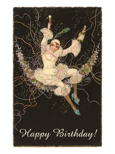 Happy Birthday, Lady Harlequin with Champagne--Art Print