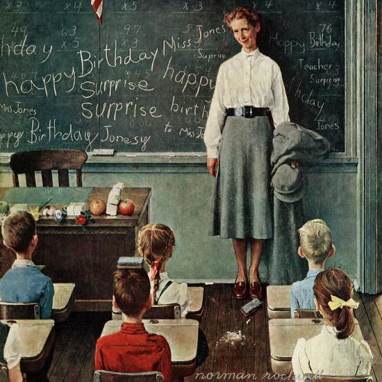"""Happy Birthday, Miss Jones"", March 17,1956-Norman Rockwell-Premium Giclee Print"