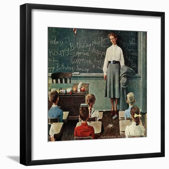 """Happy Birthday, Miss Jones"", March 17,1956-Norman Rockwell-Framed Premium Giclee Print"
