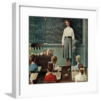 """Happy Birthday, Miss Jones"", March 17,1956-Norman Rockwell-Framed Giclee Print"