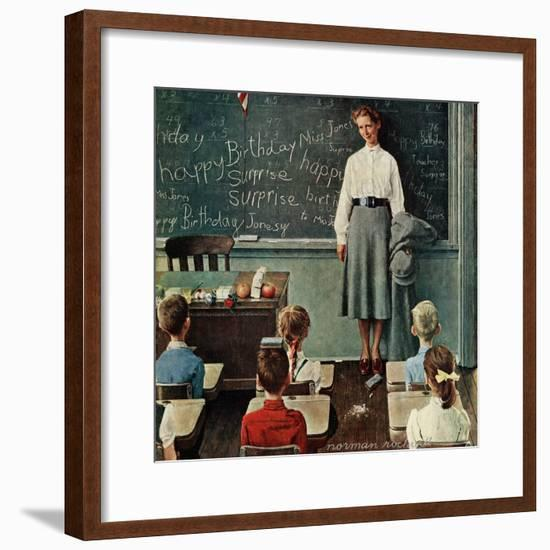 """Happy Birthday, Miss Jones"", March 17,1956-Norman Rockwell-Framed Giclee Print"