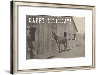 Happy Birthday, Mule and Man--Framed Art Print