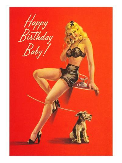 Happy Birthday, Pinup with Schnauzer--Art Print