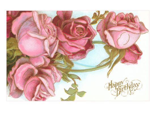 Happy Birthday Roses Art Print By