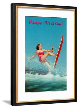 Happy Birthday, Trick Water Skier--Framed Art Print