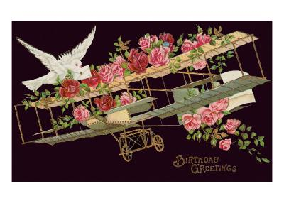 Happy Birthday, Vintage Airplane with Roses--Art Print