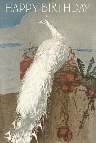 Happy Birthday White Peacock--Art Print
