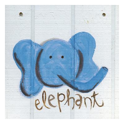 Happy Blue Elephant-Erin Butson-Art Print
