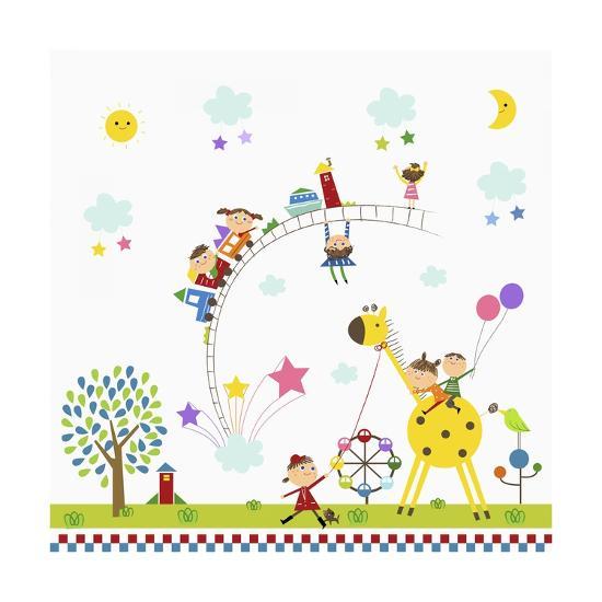 Happy Children in Amusement Park-TongRo-Giclee Print