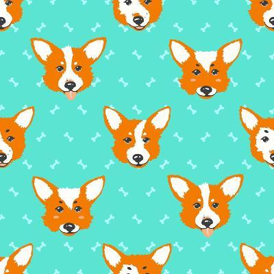 Happy Dog Welsh Corgi Orange and Aquamarine Vector Background. Seamless Pattern.- Guu-Art Print