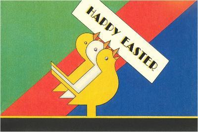 Happy Easter, Chicks Holding Sign--Art Print