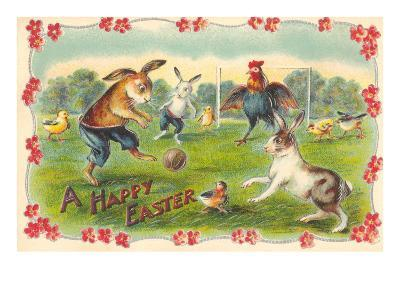 Happy Easter, Creatures Playing Soccer--Art Print