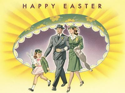 Happy Easter, Family with Giant Half-Egg--Art Print