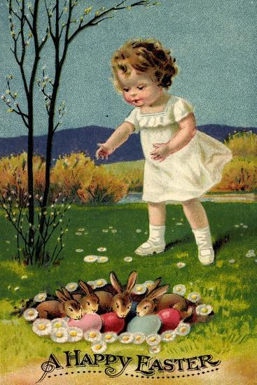 Happy Easter, Girl, Rabbits, Easter Eggs, Nest--Giclee Print