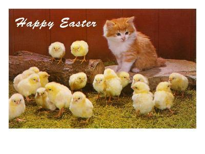 Happy Easter, Kitten and Chicks--Art Print