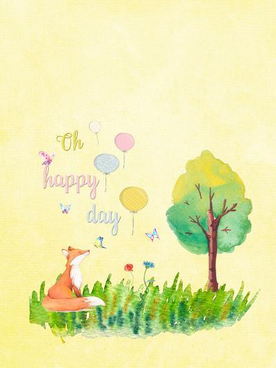 Happy Fox Animal-Grab My Art-Art Print