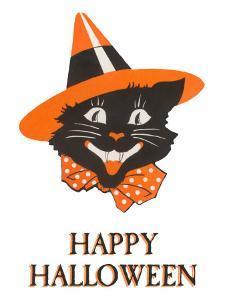 Happy Halloween, Black Cat in Hat