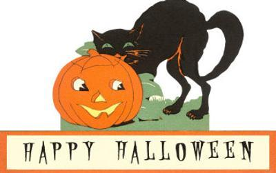 Happy Halloween, Cat and Jack O'Lantern