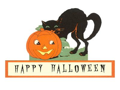Happy Halloween, Cat and Jack O'Lantern--Art Print