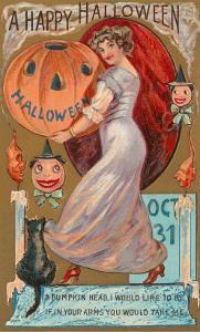 Happy Halloween, Victorian Lady with Jack O'Lantern