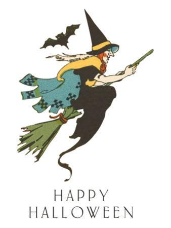 Happy Halloween, Witch and Bat