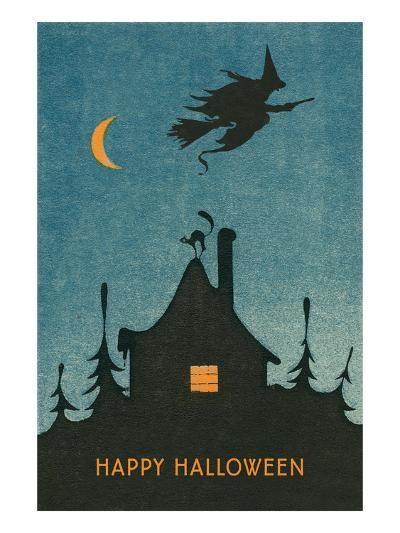 Happy Halloween, Witch Flying over House--Art Print