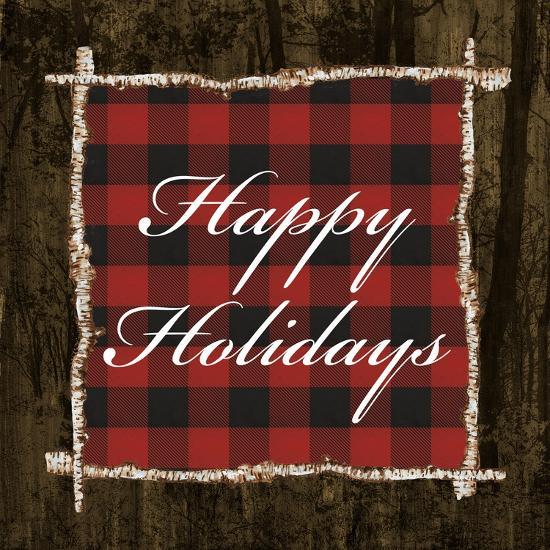 Happy Holidays on Plaid-Gina Ritter-Art Print