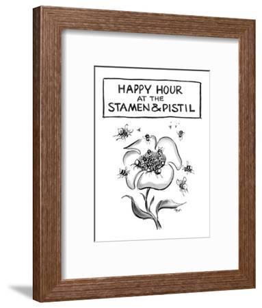 Happy hour at the stamen and pistil. - New Yorker Cartoon-Lee Lorenz-Framed Premium Giclee Print