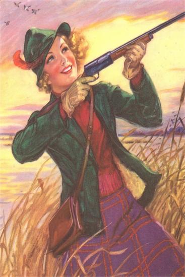 Happy Hunting Woman--Art Print