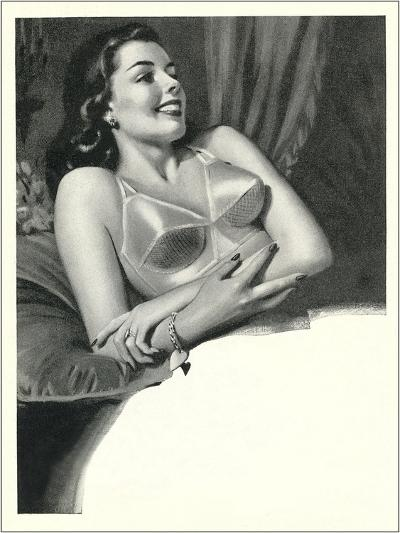 Happy Lady with Brassiere--Art Print