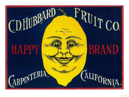 Happy Lemon Label - Carpinteria, CA-Lantern Press-Art Print