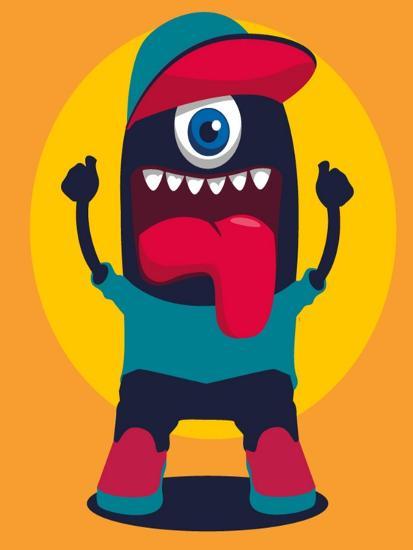 Happy Monster- braingraph-Art Print