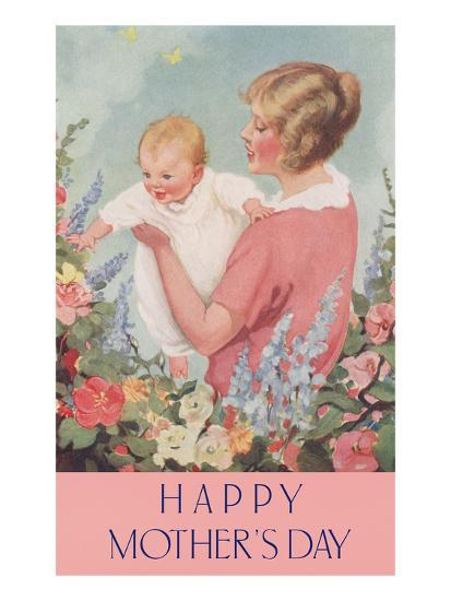 Happy Mothers Day, Mother in Garden with Baby--Art Print