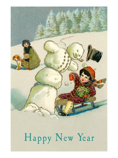Happy New Year, Children and Snowman--Art Print