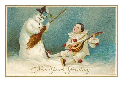 Happy New Year, Clown and Snowman--Art Print