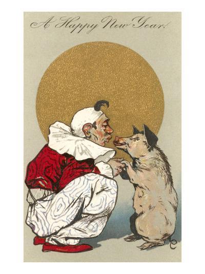 Happy New Year, Clown Kissing Pig--Art Print