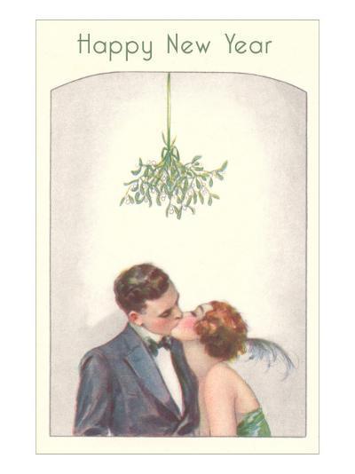 Happy New Year, Couple Kissing Under Mistletoe--Art Print