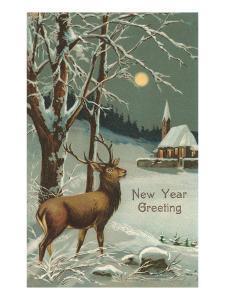 Happy New Year, Elk in Moonlight