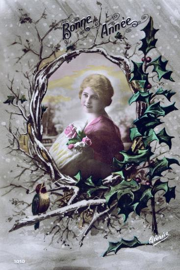 Happy New Year, French Postcard, C1900--Giclee Print