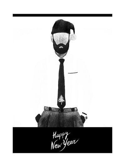 Happy New Year Illustration. Young Man. Abstract Watercolor Fashion Art-Anna Ismagilova-Art Print