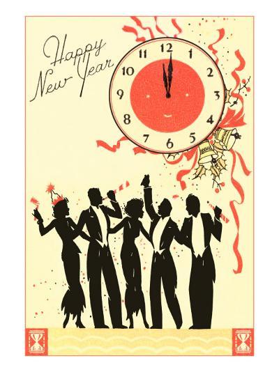 Happy New Year, Men in Tuxedos, Clock at Midnight--Art Print