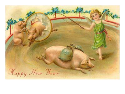 Happy New Year, Performing Pigs--Art Print