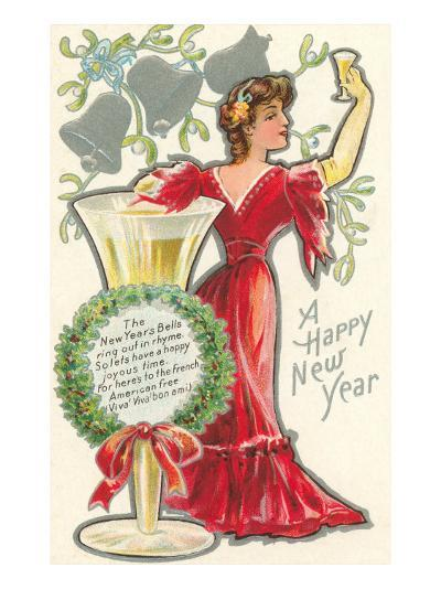 Happy New Year, Victorian Lady, Poem--Art Print