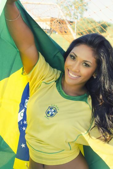 Happy Smiling Brazil Soccer Football Fan.... (Brazil World Cup Finals 2014)-BCFC-Photographic Print