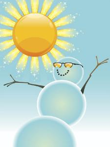 Happy Snowman in the Sunshine