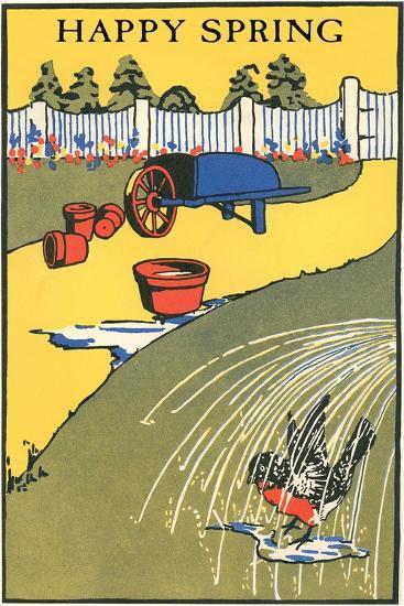 Happy Spring, Bathing Bird in Garden--Art Print
