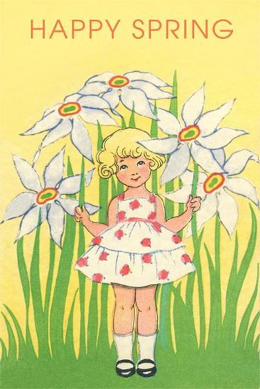 Happy Spring, Cute Little Girl with Big White Flowers--Art Print