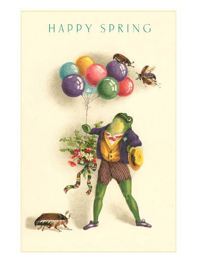 Happy Spring, Frog with Balloons--Art Print